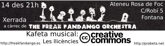 Divendres 14 de desembre a les 21h Kafeta musical: Les llicències Creative Commons amb The Freak Fandango Orchestra